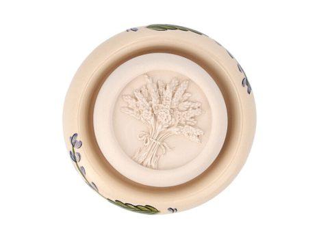 Aromakő kerámia alátéttel - festett levendula virággal 7 cm