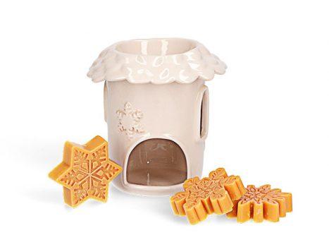 Karácsonyi házikó kerámia aromalámpa ajándékcsomag aromaviasszal