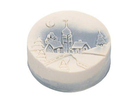 Téli mese karácsonyi szappan kék - templom