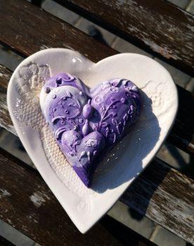Levendula álom ajándékdoboz szívecskés szappantartóval