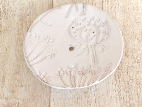 Kerámia szappantartó - pitypangos fehér